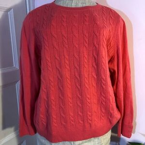 Talbots pink cable wool blend sweater 2X